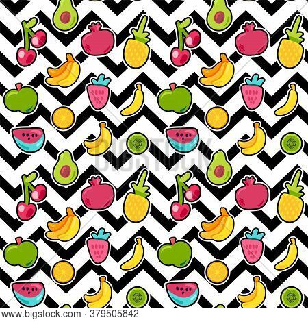 Painted Berries Summer Fruits Mix Seamless Pattern