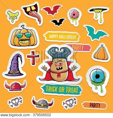 Vector Halloween Sticker Icons Set With Dracula, Witch Hat, Scary Pumpkin, Bat , Skull, Happy Hallow