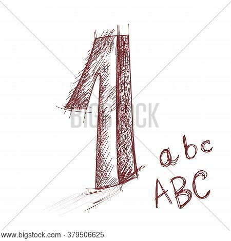The Number 1 And Handwritten Letters. Design Elements For School Products. Manual Labels. One-color
