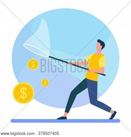 Man Catching Money With Butterfly Net. Cash, Coins, Dollar Flat Vector Illustration. Finance, Earnin