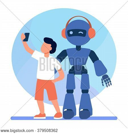 Boy Taking Selfie With Humanoid. Child With Cyborg, Kid With Robot Flat Vector Illustration. Robotic