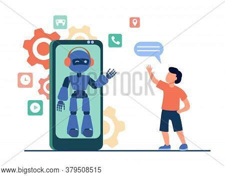 Boy Waving Hello At Humanoid On Smartphone Screen. Chat Bot, Virtual Assistant, Mobile Phone Flat Ve