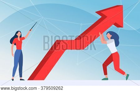 Managers Resisting Crisis. Woman Pointing Up, Her Colleague Holding Growth Arrow Flat Vector Illustr