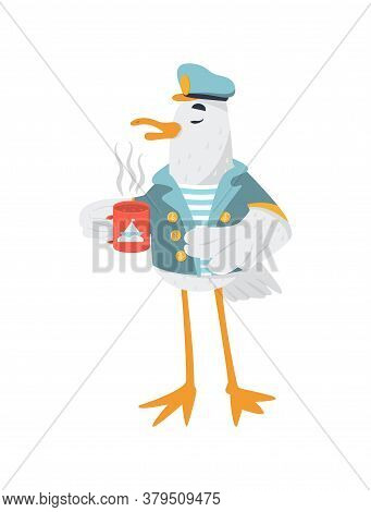 Funny Captain Seagull In Marine Coat And Hat. Cute Bird Drinks Tea. Vector Isolated.