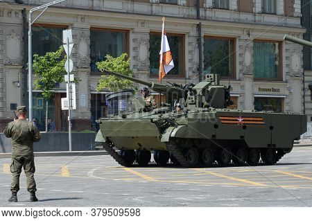Moscow, Russia - June 20, 2020:self-propelled Anti-aircraft Artillery Complex