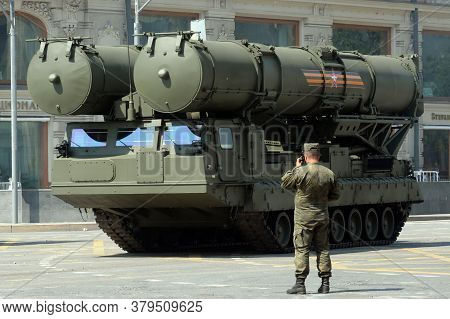 Moscow, Russia - June 20, 2020:s-300v4 Anti-aircraft Missile System On Tverskaya Street During The D