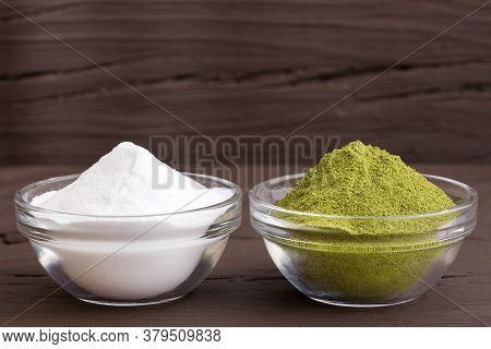 Stevia Sweetener Powder - Stevia Rebaudiana. Text Space