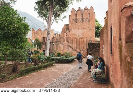 Chefchaouen, Morocco - October 26, 2018: Tourists Exploring The Kasbah Museum In Chefchaouen Medina,
