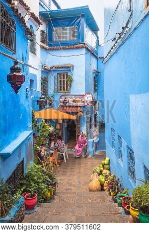 Chefchaouen, Morocco - October 26, 2018: View Of A Restaurant With Local People In The Picturesque S