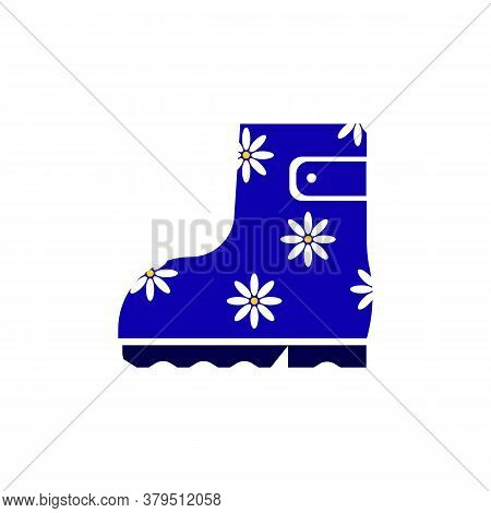 Blue Rubber Boots With A Print Of White Daisies. Rubber Boots Icon. Vector Illustration Isolated On