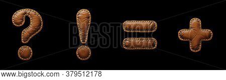 Set of symbols question mark, exclamation mark, equals, plus made of leather. 3D render font with skin texture isolated on black background. 3d rendering