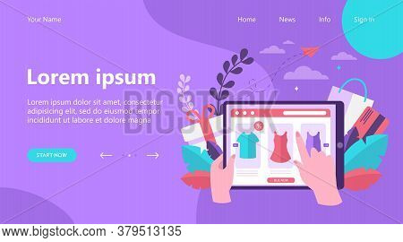 Online Shop Page On Tablet Flat Vector Illustration. Customer Or Buyer Hands Holding Mobile Device A