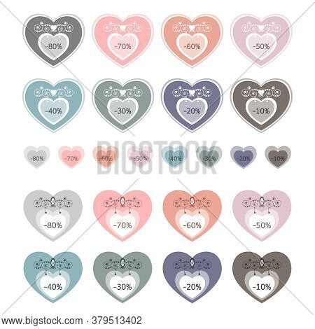 Set Of Price Tags. Sale Labels. Heart Shaped Panel. Colorful Label And Original. Pastel Colors. Vect