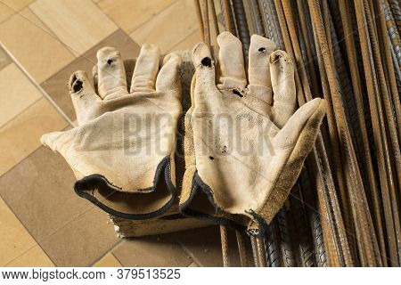 Old And Broken Gloves - Constructor. Top View