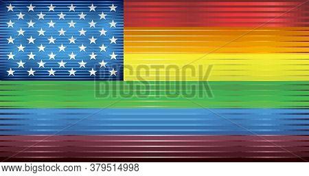 Rainbow Flag With Usa Stars - Illustration,  Gay Pride Usa Flag