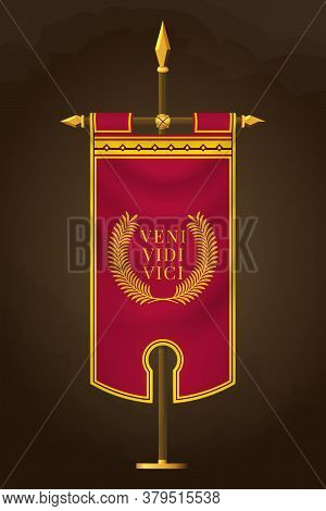 Medieval Vertical Banner With Latin Quote. Veni Vidi Vici. Wall Hangings Flag. War Pennant For Game
