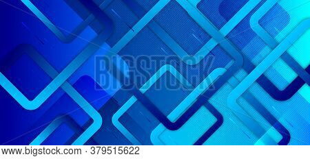 Abstract Blue Gradient Background With Geometric Squares Overlapping Creative Design Technology Conc
