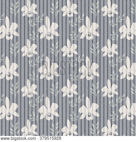 Orchid Floral Pattern With Green Leaves In Soft Muted Colors With Vertical Stripes, 12x12 Desgin Ele