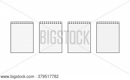 Set Of Blank Notebook With Spiral. Isolated Notepad Document In Realistic Design. Diary School Docum