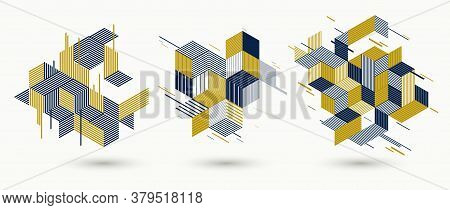 Abstract Polygonal Backgrounds With Stripy Triangles And 3d Cubes Vector Designs Set. Templates For