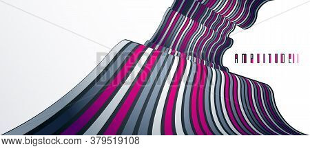 Abstract Lines In 3d Dimensional Perspective Abstract Vector Background, Cool Funky Design Layout, 7