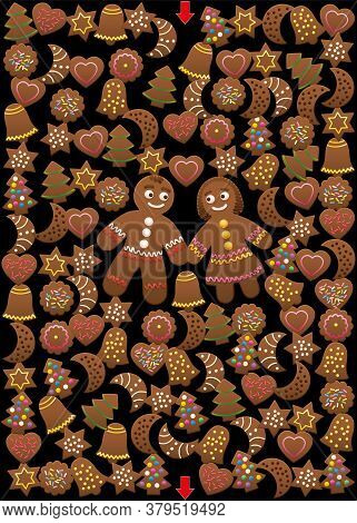 Christmas Cookies Maze. Find The Way Through The Gingerbread Labyrinth. Xmas Fun For Children. Illus