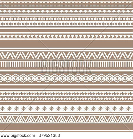 Geometric Seamless Pattern Brown Cacao Vintage Vector Illustration