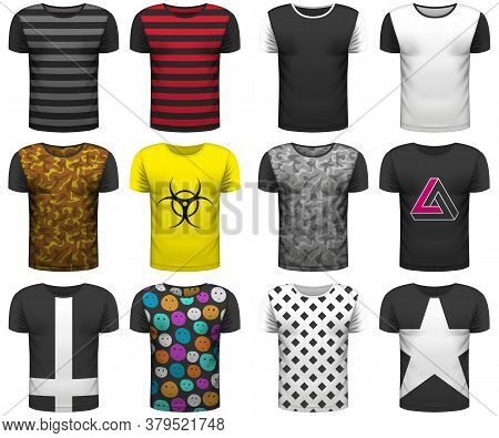 Design Collection Of Realistic T-shirts Mock Up On White Background. Youth T-shirts For Your Busines