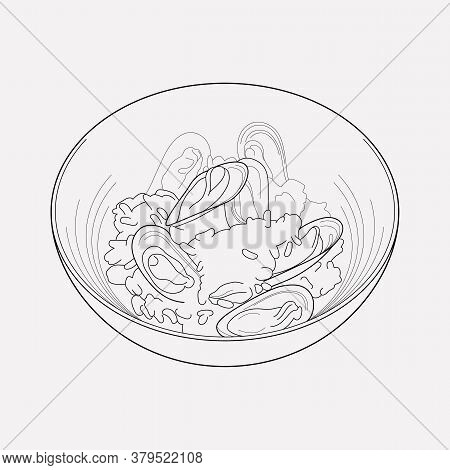 Seafood Risotto Icon Line Element. Vector Illustration Of Seafood Risotto Icon Line Isolated On Clea