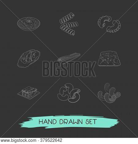Set Of Italian Food Icons Line Style Symbols With Riccioli Pasta Shape, Bucatini Pasta Shape, Creste