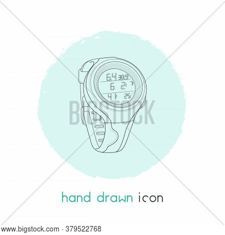 Underwater Diving Watch Icon Line Element. Vector Illustration Of Underwater Diving Watch Icon Line