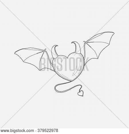 Evil Heart Icon Line Element. Vector Illustration Of Evil Heart Icon Line Isolated On Clean Backgrou