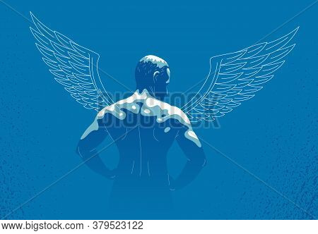 Winged Angel With Muscular Strong Body Back View Vector Illustration, Guardian Angel Concept, The Po