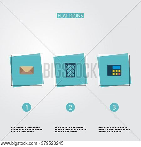 Set Of Workspace Icons Flat Style Symbols With Wastebasket, Telephone, Mail And Other Icons For Your