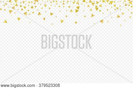 Yellow Shard Modern Transparent Background. Isolated Confetti Postcard. Golden Triangle Falling Desi