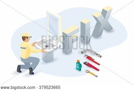Toilet Bowl, Worker, Isometric Word Fix. Home Appliance Repairs. Vector.