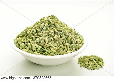 Fennel Seeds Isolated On White Background, Saunf