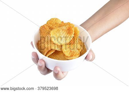 Chips Bowl In Hand Isolated On White Background