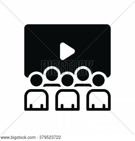 Black Solid Icon For Cinema-theatre Cinema Theatre Movie-house Stage Spotlight Audience Performance