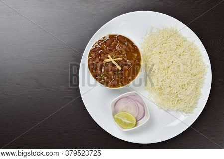 Rajma Rice With Onion Salad On Table, Kidney Beans, Indian Food