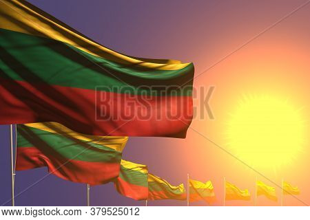 Beautiful Many Lithuania Flags Placed Diagonal On Sunset With Place For Your Text - Any Occasion Fla