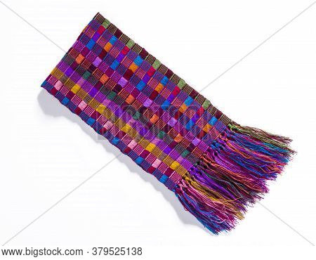 Colorful Mexican Zarapes With Shadow On White Background