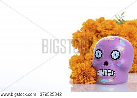 Composition With Typical Mexican Skull And Cempazuchitl Flowers On White Background.