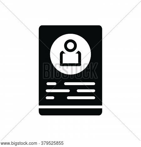 Black Solid Icon For Profile Delineation Figuration Resume Summary Elaboration Document Recruitment