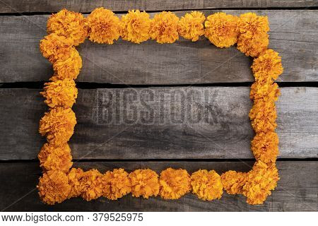 Composition With Cempazuchitl Flowers On Rustic Wooden Table.