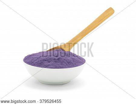 Porcelain White Bowl With Shadow Makeup Puprle Powder With Wooden Spoon On White Background.