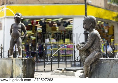 Children Fountain Urinating. Architecture And Monuments Of The City Of Guadalajara, Jalisco, Mexico.