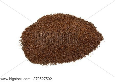 Pile Of Ground Coffee On White Background.