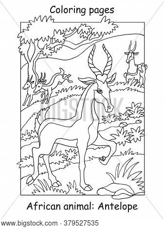 Vector Coloring Pages With Cute Antelope In African Area. Cartoon Contour Illustration Isolated On W