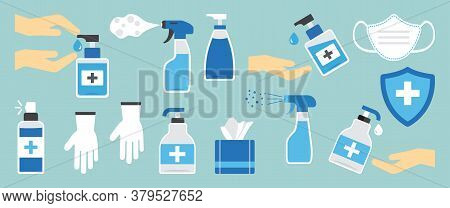 Hygiene Hand Spray, Ppe Icons, Disinfect, Mask, Corona Virus Protection, Antiseptic, Sanitizer Bottl